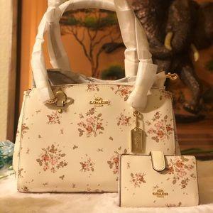 COACH Etta Carryall Floral Bouquet Purse & Wallet